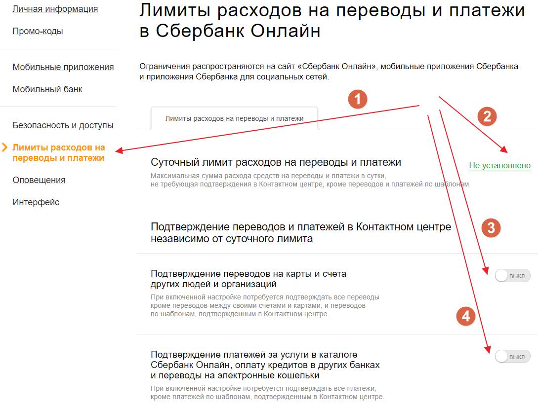 Установка ограничений на переводы и платежи через Сбербанк Онлайн - настройки безопасности